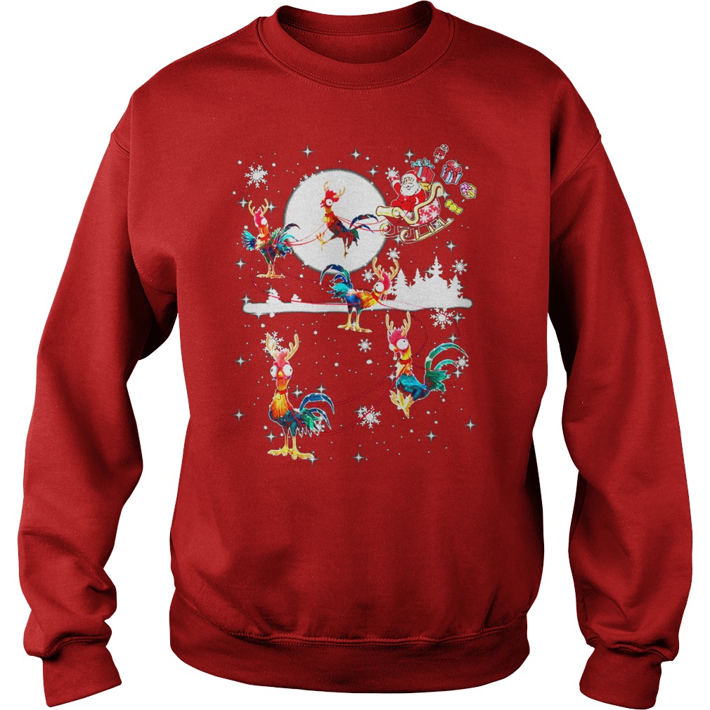 Christmas chicken Hei Hei and Santa Claus sweater