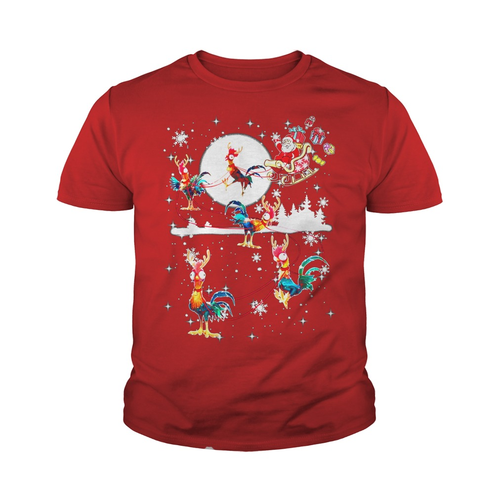 Christmas chicken Hei Hei and Santa Claus youth tee