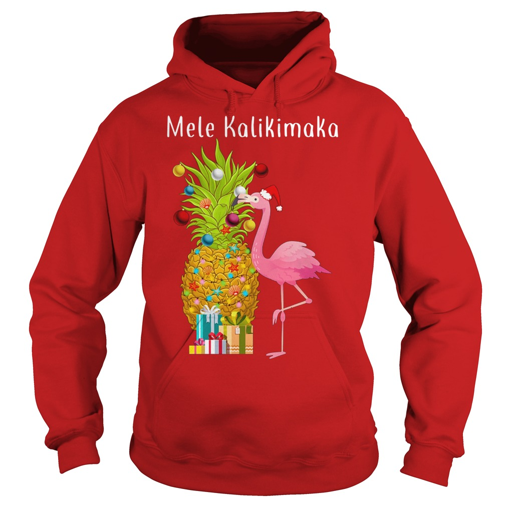 Mele Kalikimaka Flamingo Pineapple Christmas hoodie