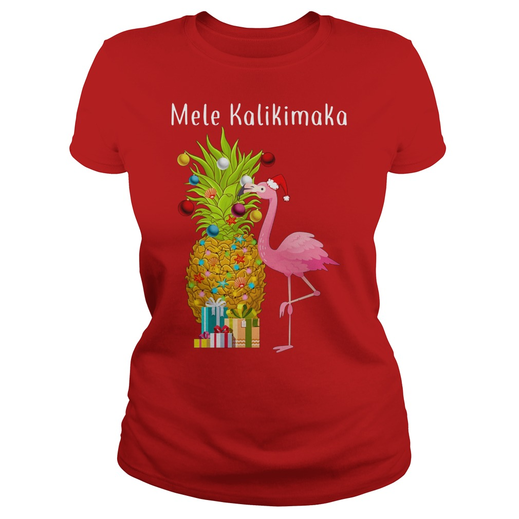 Mele Kalikimaka Flamingo Pineapple Christmas ladies tee