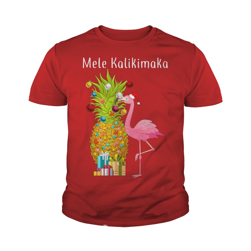 Mele Kalikimaka Flamingo Pineapple Christmas youth tee