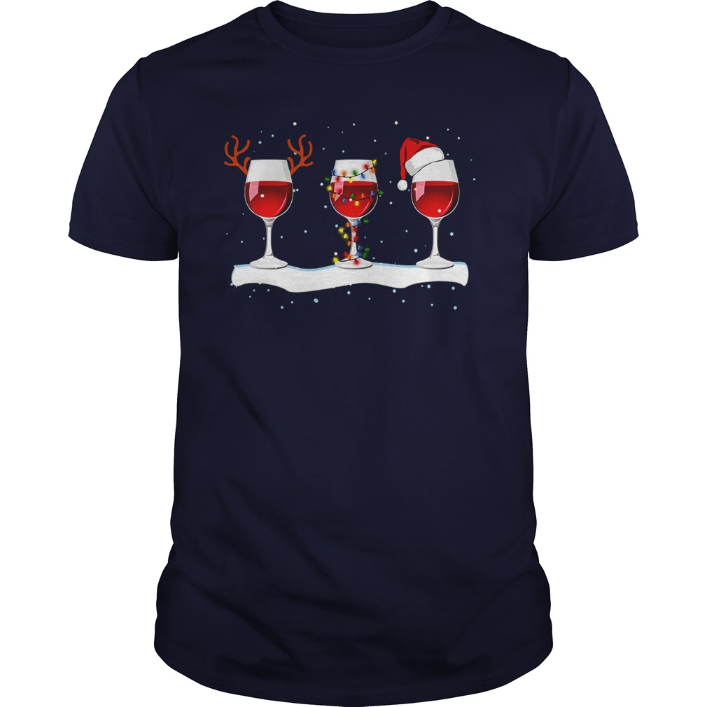 Merry Christmas With Reindeer, Wine and Hats shirt