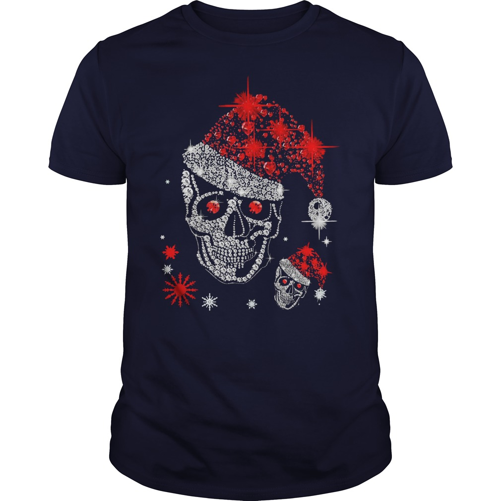 Skull Diamond Christmas with Santa Hat shirt