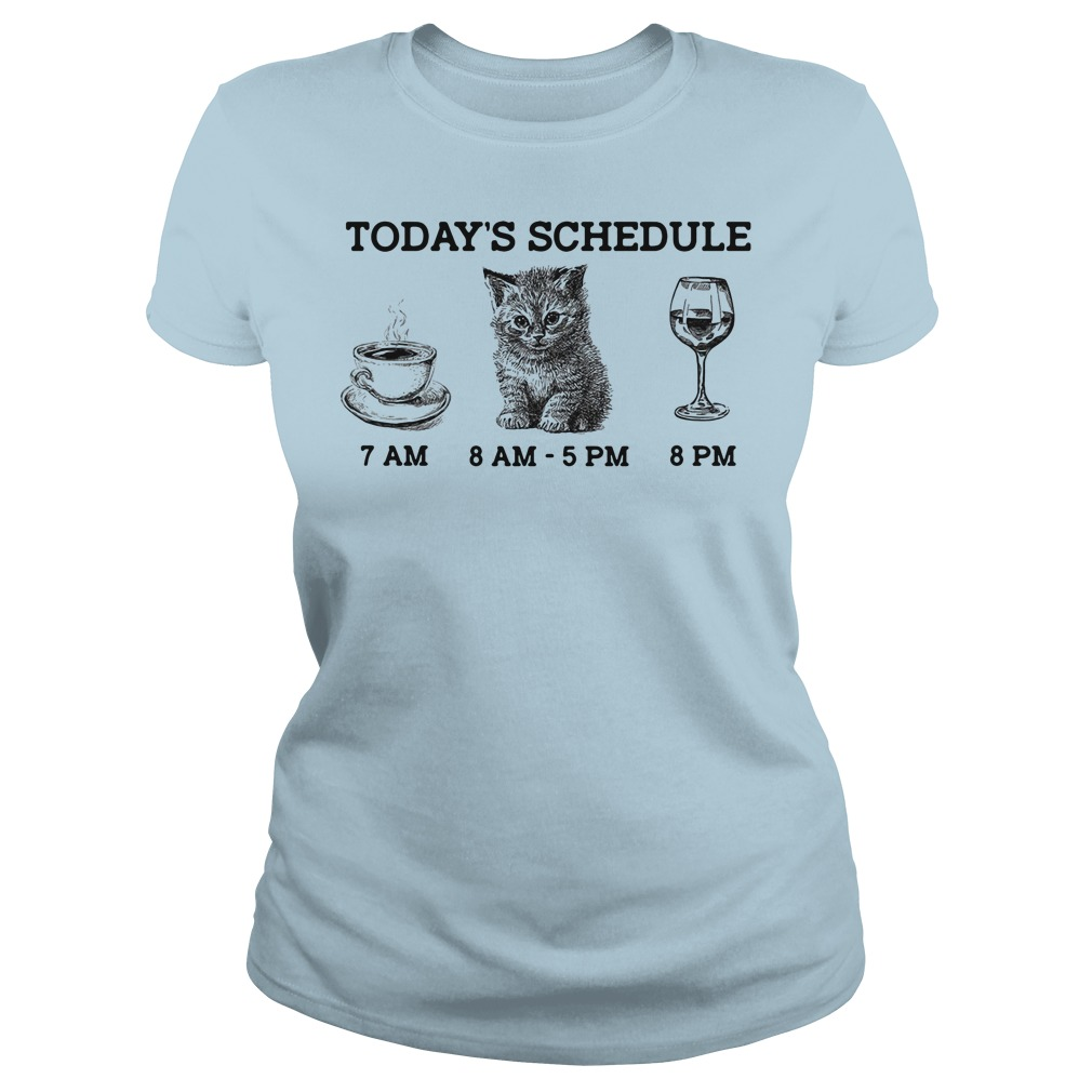 Today's schedule drink coffee cat and wine ladies tee
