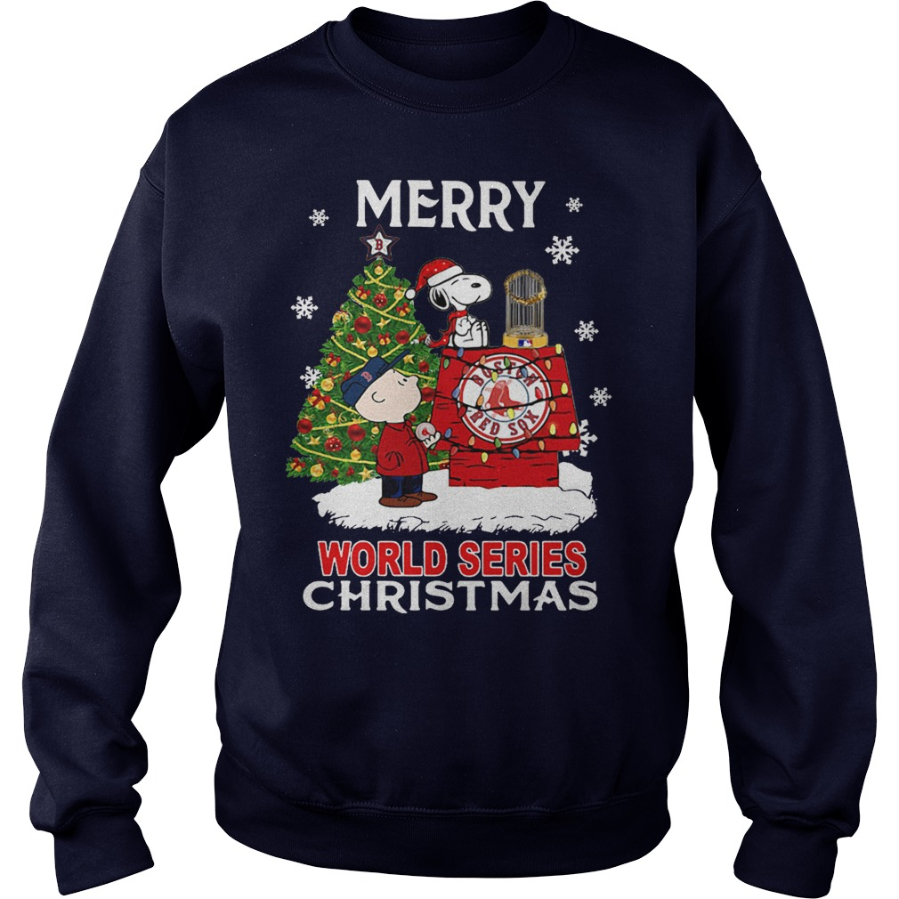 Boston Red Sox the Peanuts Snoopy world series Christmas sweater