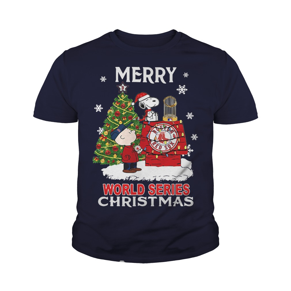 Boston Red Sox the Peanuts Snoopy world series Christmas youth tee