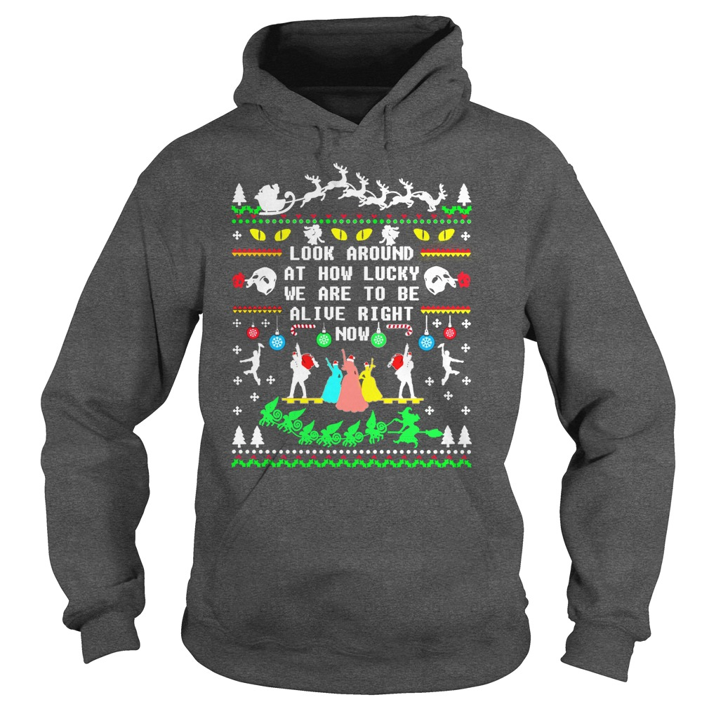 Broadway ugly christmas look around at how lucky we are to be alive right now hoodie