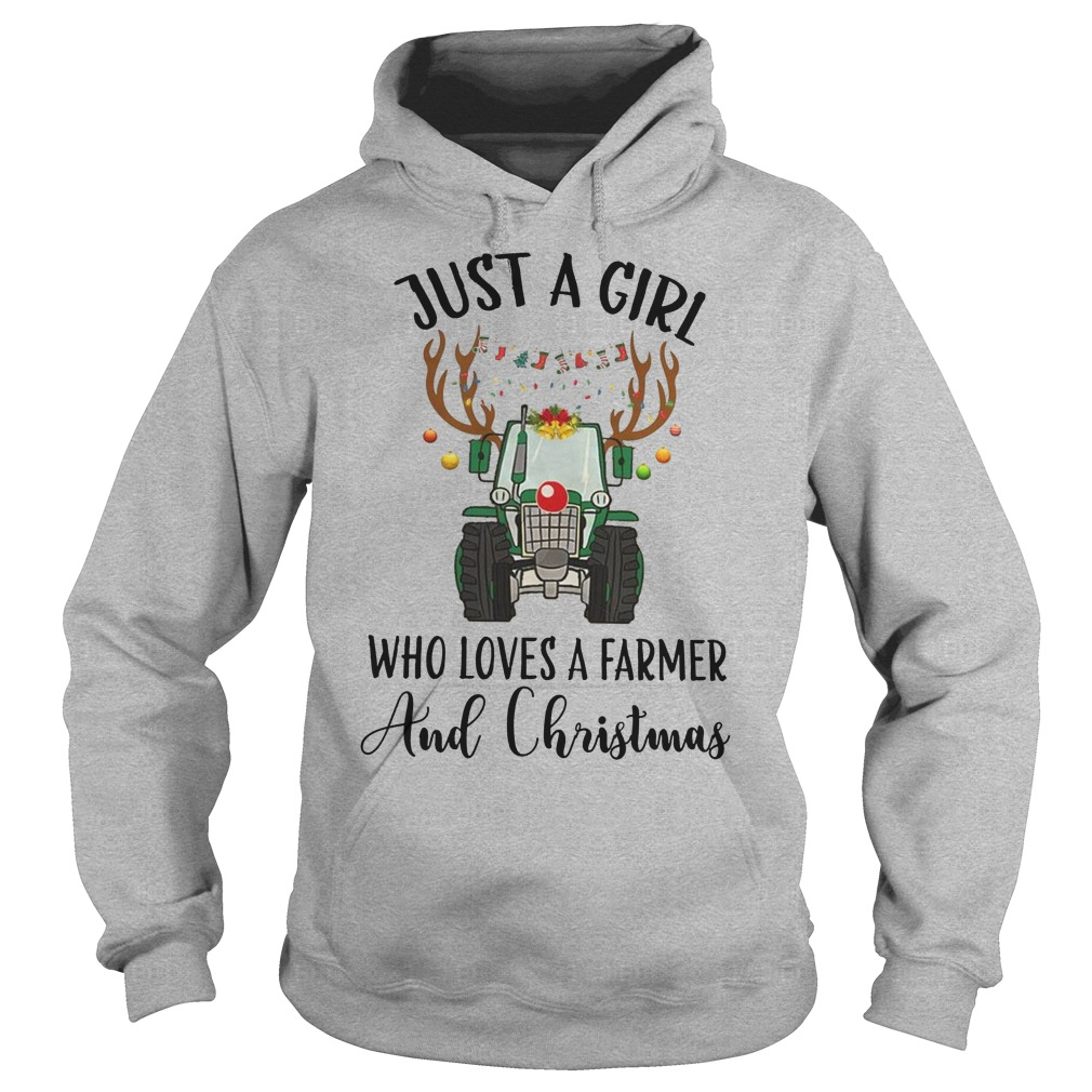Just a girl who loves a farmer and christmas hoodie