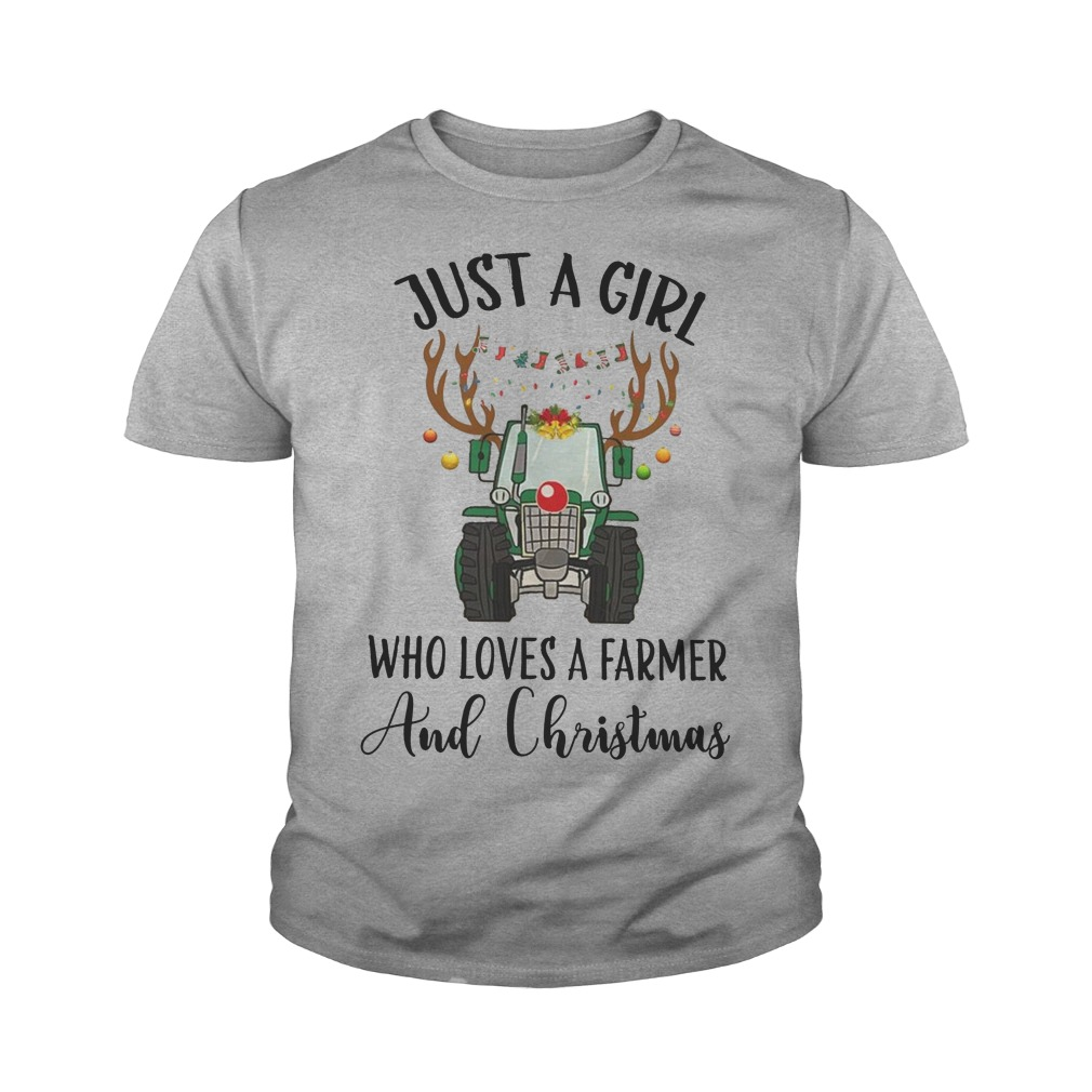 Just a girl who loves a farmer and christmas youth tee