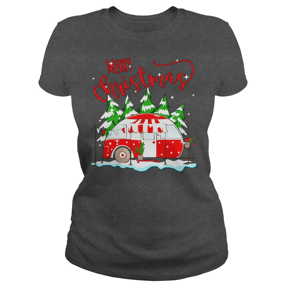 Merry christmas go camping ladies tee