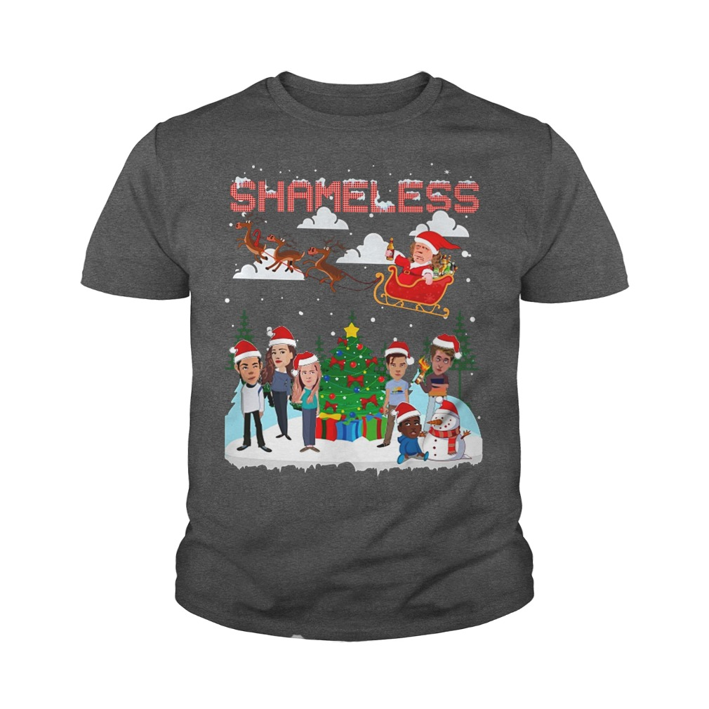 Shameless Christmas Frank and Liam Hemsworth chibi play with the snow youth tee