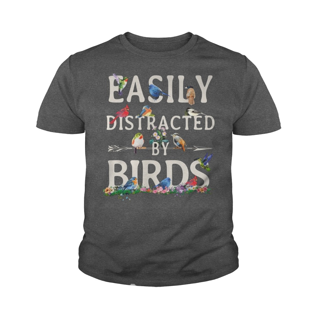 Easily distracted by birds youth tee