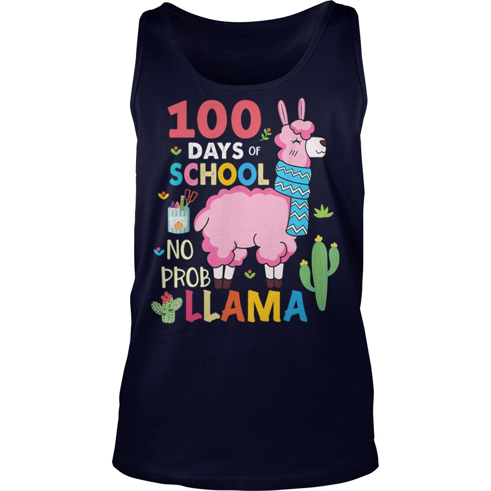 100 Days of school no probllama shirt tank top