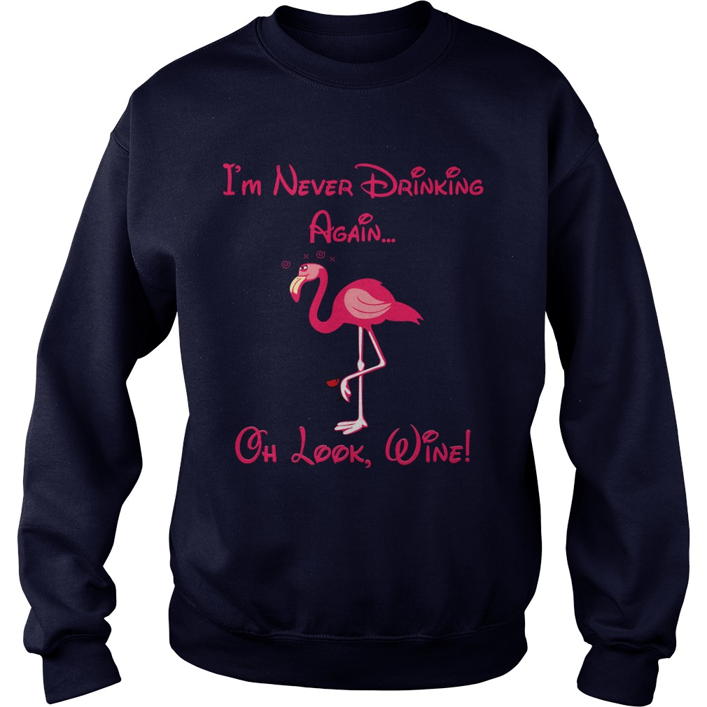 Flamingo I never drinking again oh look shirt sweater