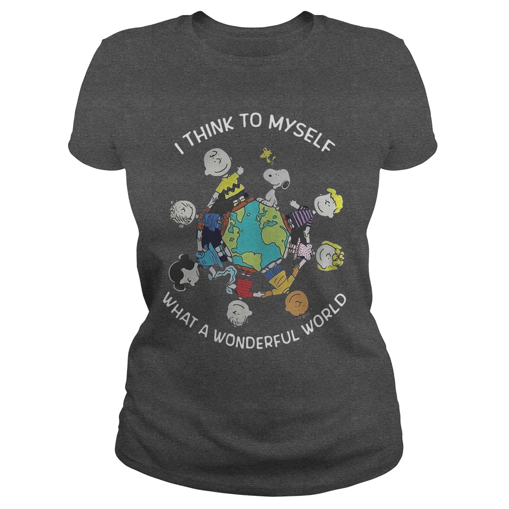 Snoopy and friends I think to myself what a wonderful world shirt ladies tee