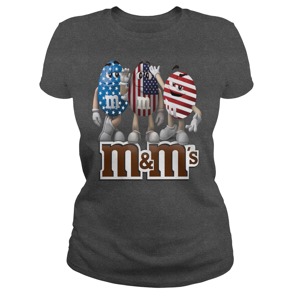 M and M's american flag shirt ladies tee