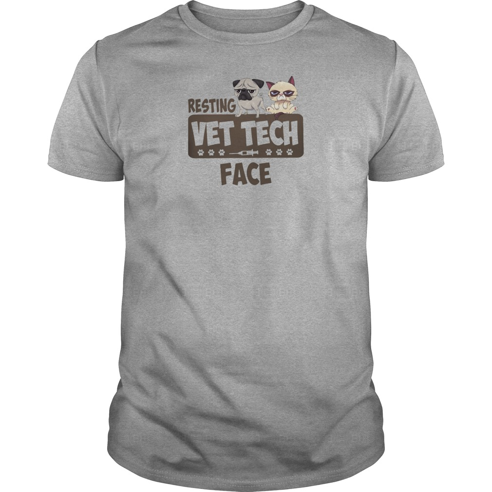 Bulldog and Grumpy Resting vet tech face shirt