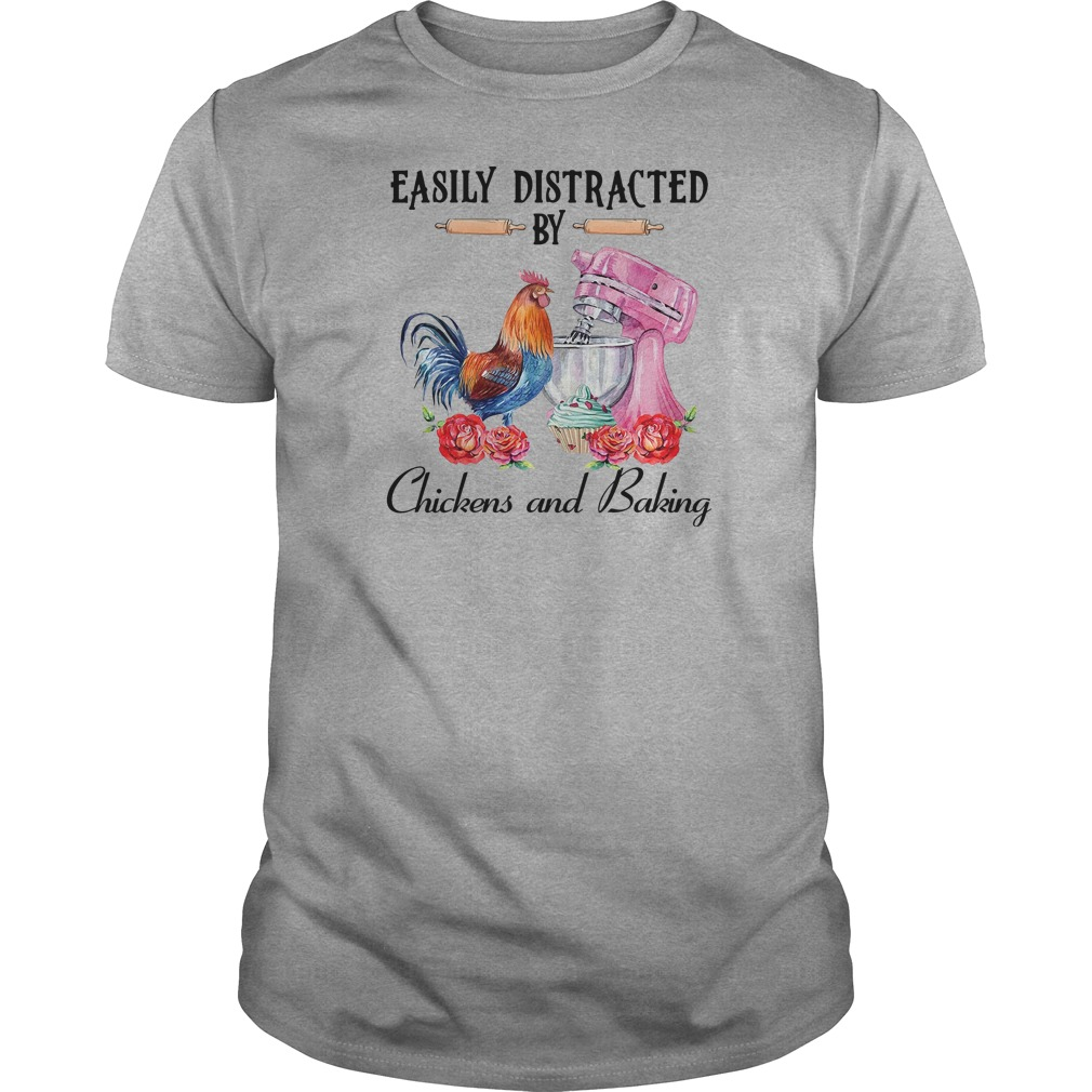 Easily distracted by chickens and baking shirt