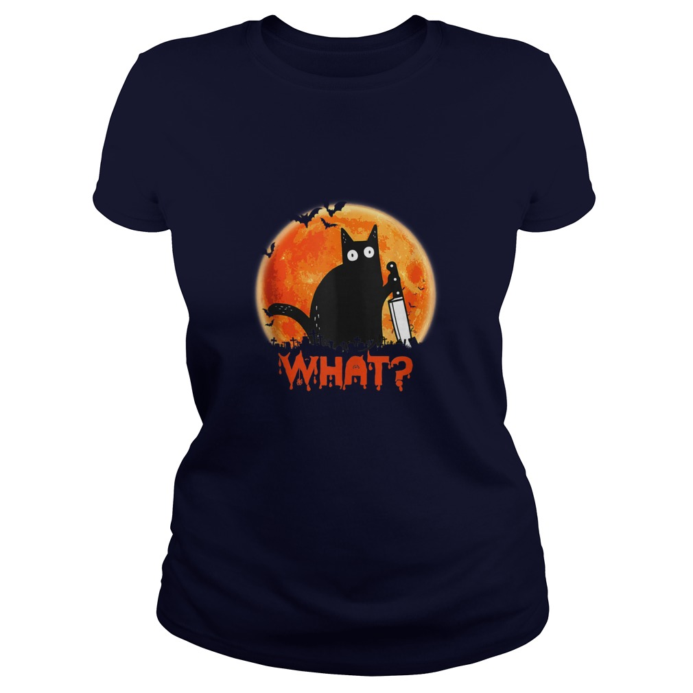 Black Cat What With Knife Halloween Murderous Shirt