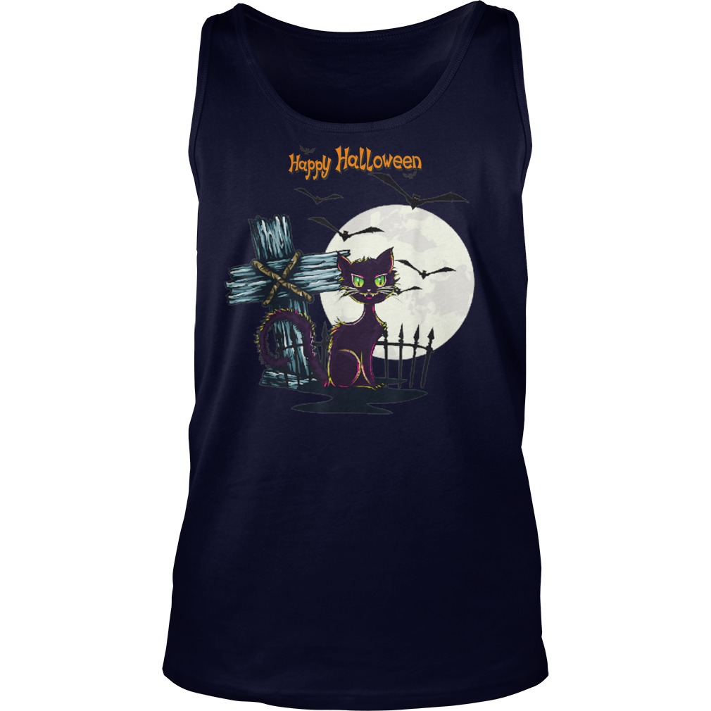 Moon Cat Bats Happy Halloween Shirt