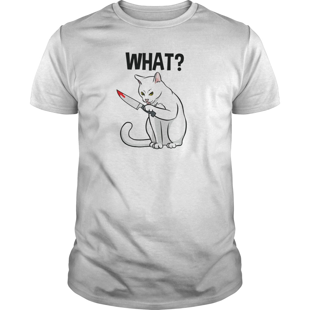 What Murderous Cat Holding Knife Halloween Costume Shirt