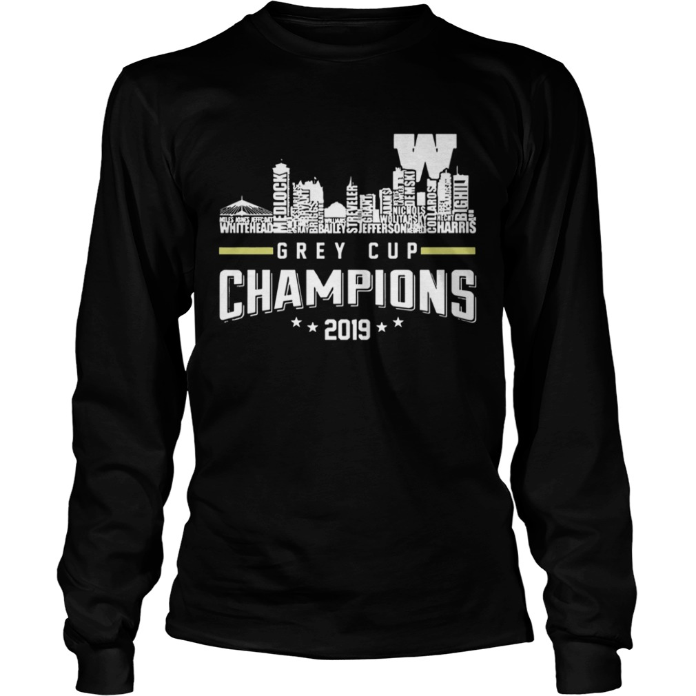 107th Grey Cup Blue Bombers Building Players Champions 2019  LongSleeve