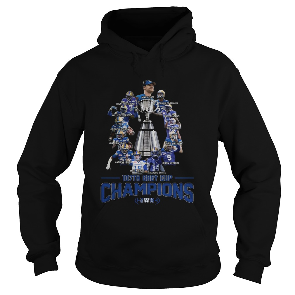 107th Grey Cup Blue Bombers Players Champions 2019  Hoodie
