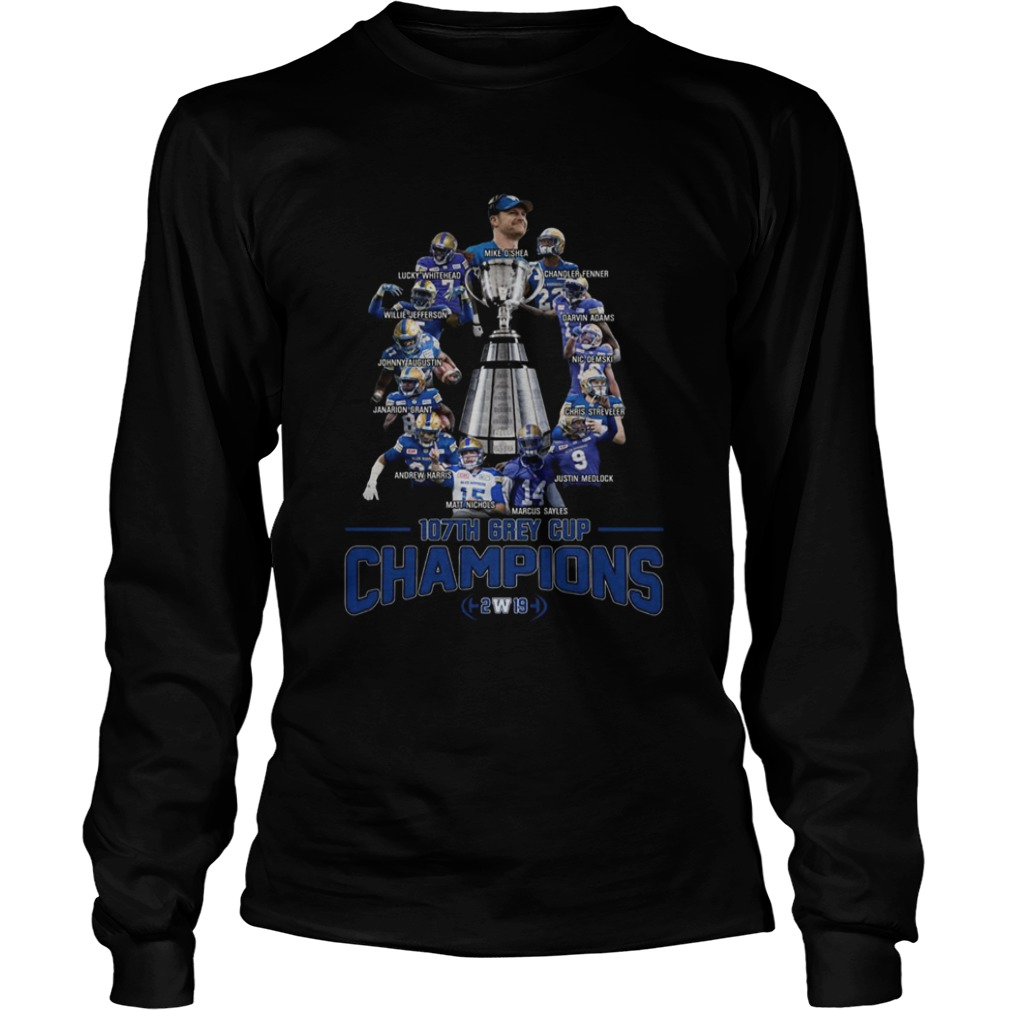 107th Grey Cup Blue Bombers Players Champions 2019  LongSleeve