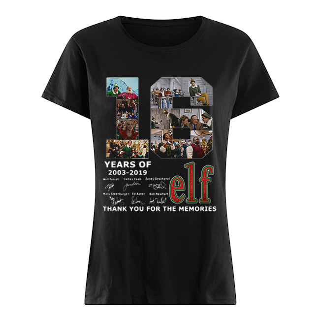 16 Years Of Elf Signatures Thank You For The Memories  Classic Women's T-shirt