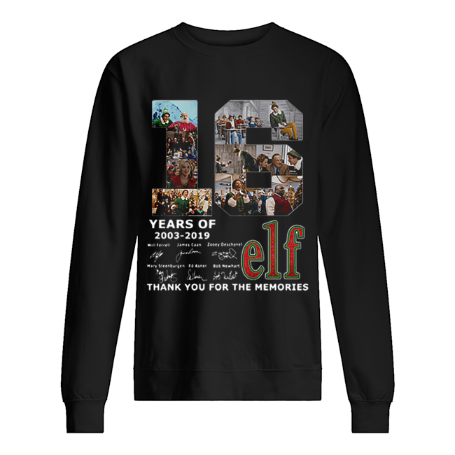 16 Years Of Elf Signatures Thank You For The Memories  Unisex Sweatshirt
