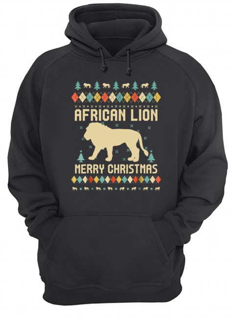 African Lion Christmas T Shirt Vintage Retro  Unisex Hoodie