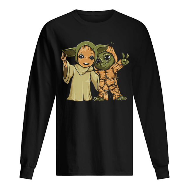 Baby Yoda and Groot  Long Sleeved T-shirt