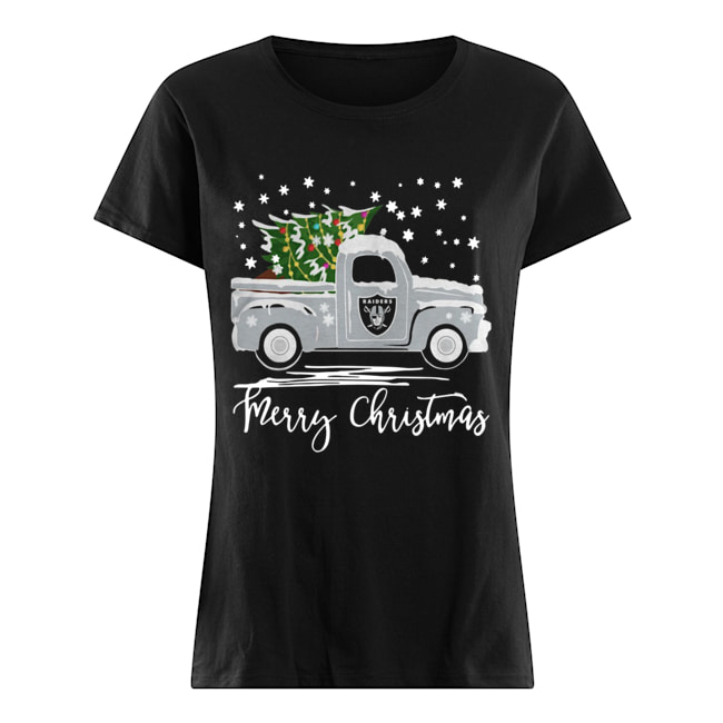 Oakland Raiders Truck Merry Christmas  Classic Women's T-shirt