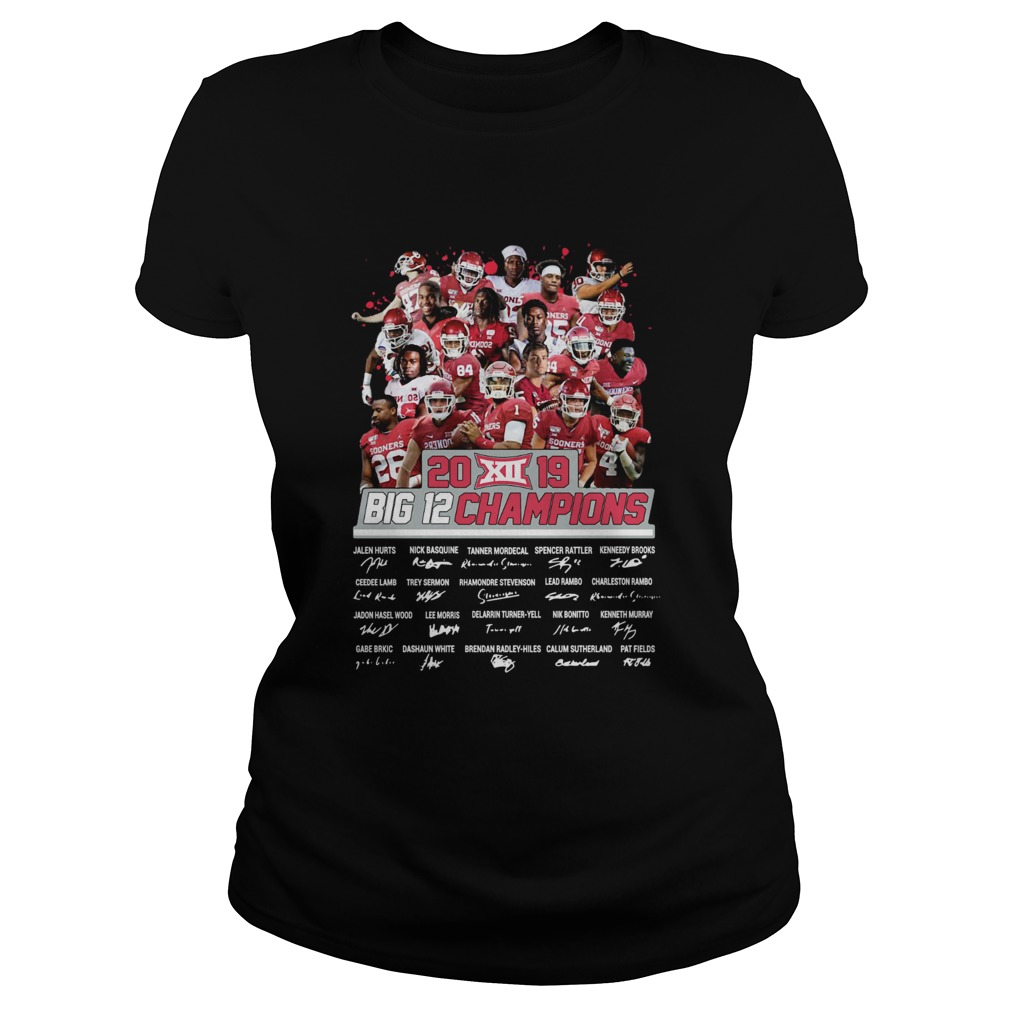 2019 Big 12 Football champions Oklahoma Sooners Signatures  Classic Ladies