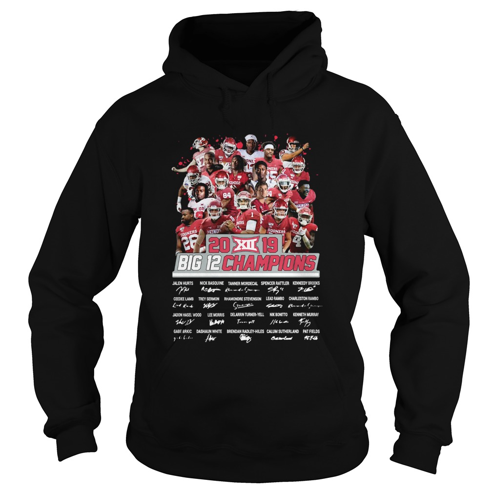 2019 Big 12 Football champions Oklahoma Sooners Signatures  Hoodie