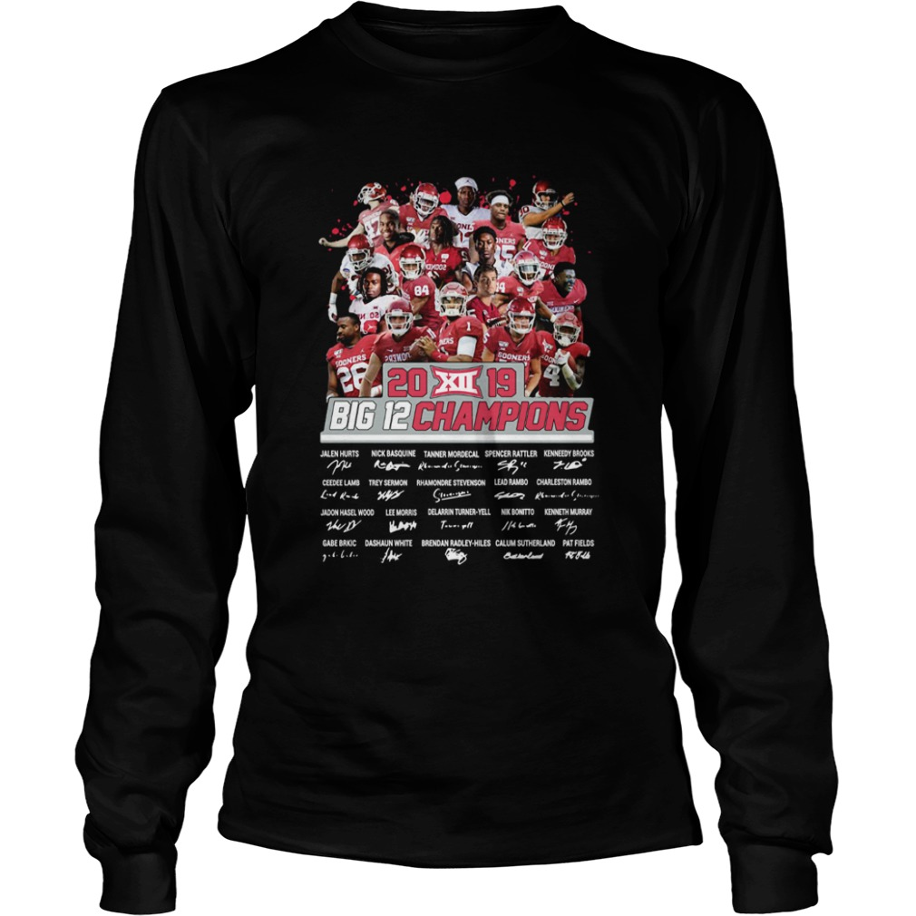 2019 Big 12 Football champions Oklahoma Sooners Signatures  LongSleeve
