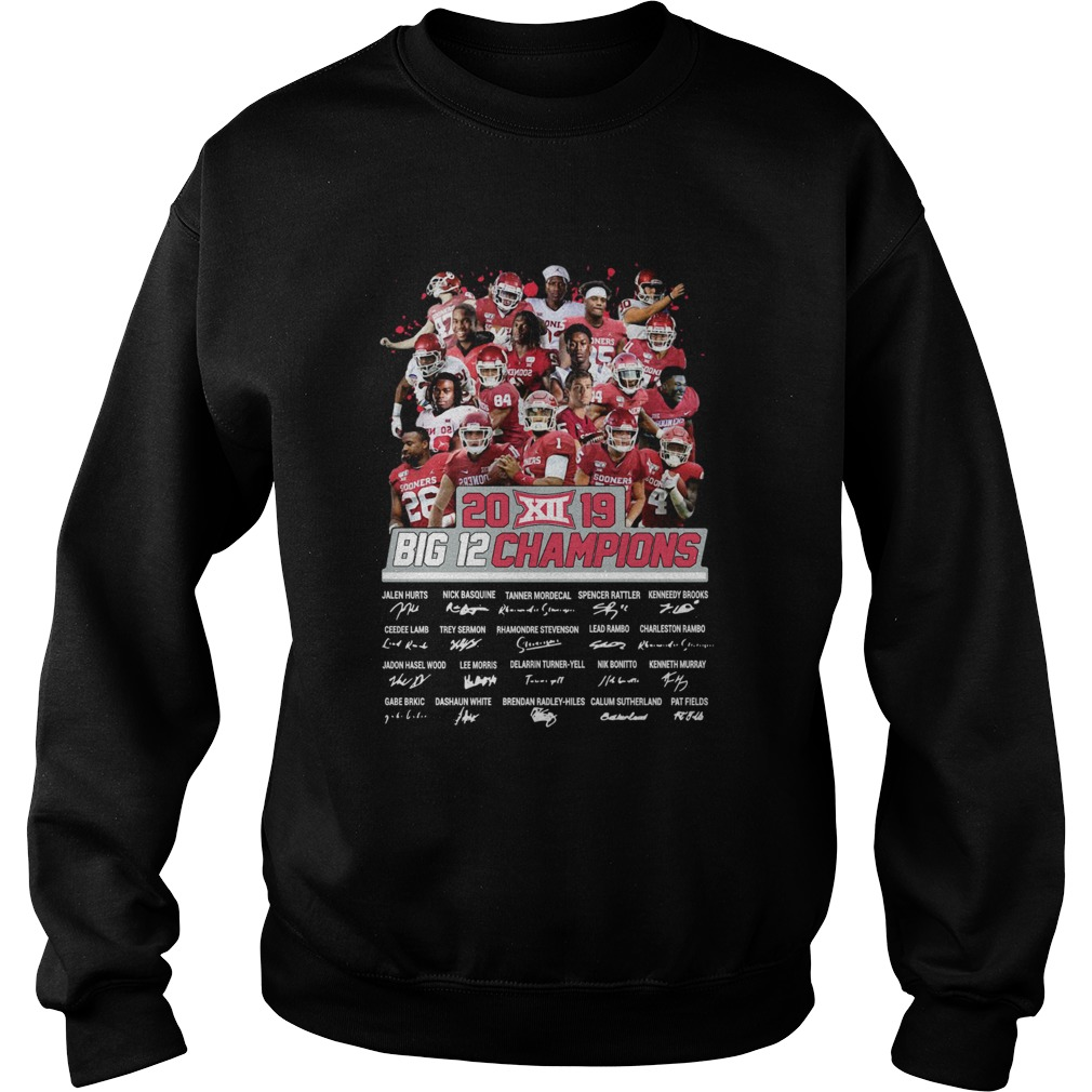 2019 Big 12 Football champions Oklahoma Sooners Signatures  Sweatshirt