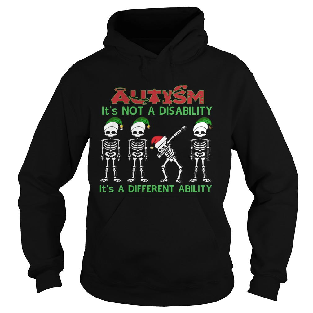Santa Skeleton autism its not a disability its a different ability christmas  Hoodie