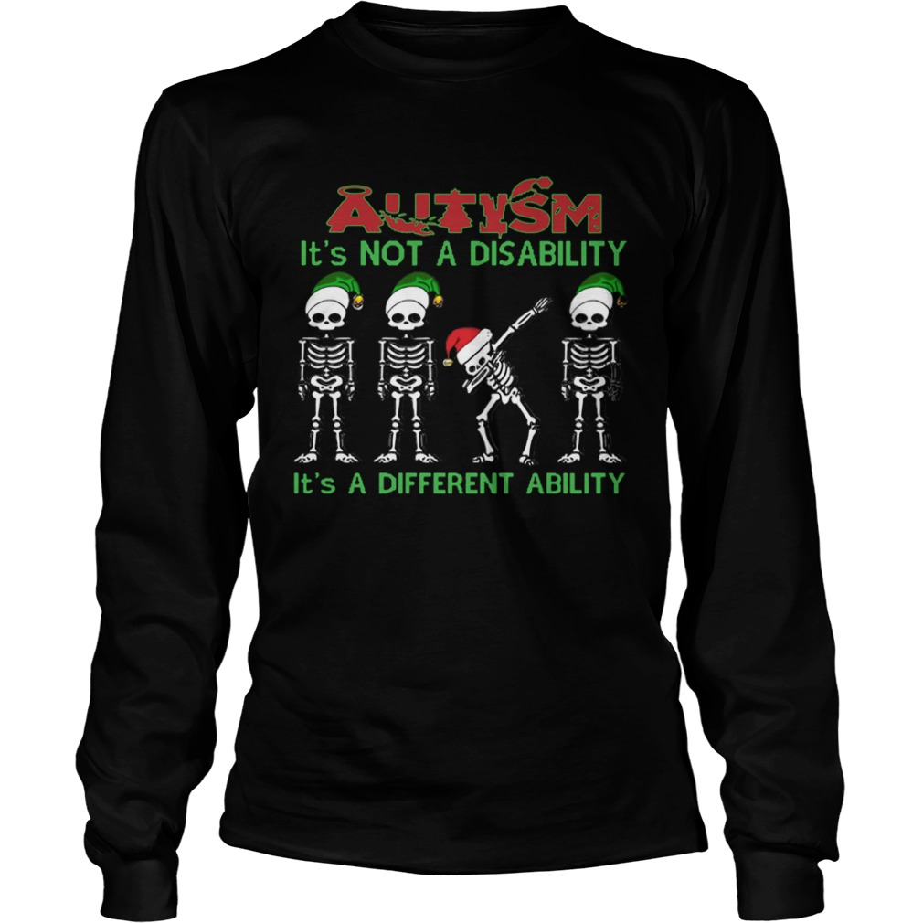 Santa Skeleton autism its not a disability its a different ability christmas  LongSleeve