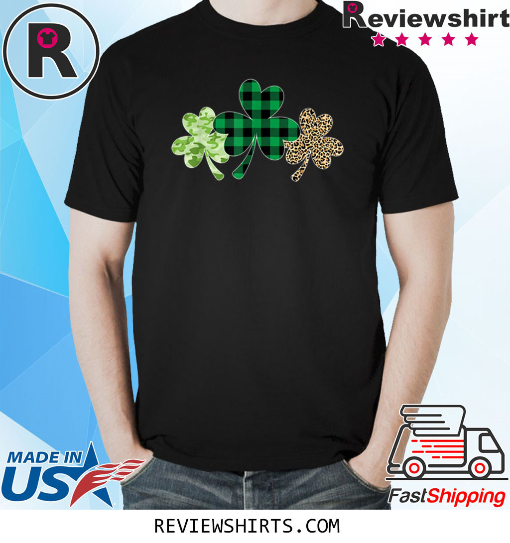 Plaid Shamrock Shirt Leopard Camouflage Fun St Patricks Day T-Shirt