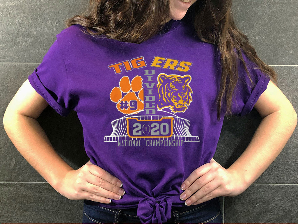 Tigers Divided T-Shirt - College Football Playoff National Championship between LSU and Clemson